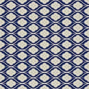 원활한 패턴 네이비 블루 오리엔탈 커브 라운드 크로스 라인 꽃