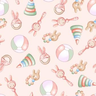 シームレスパターンの生まれたばかりの赤ちゃんのシャワーの誕生日。手描き