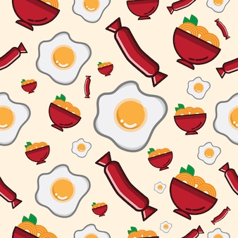 Seamless pattern noodle and egg