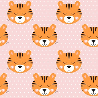 Seamless pattern nursery cute tiger and dots on pink background.