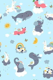 Seamless pattern for the nursery with cute animals and clouds. vector graphics.
