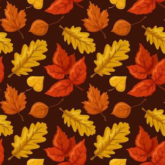 シームレスなパターンのオークとカエデの葉紅葉自然飾り暗い背景