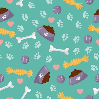 Seamless pattern. objects for dog care - bowl with dog food, toys and bone.