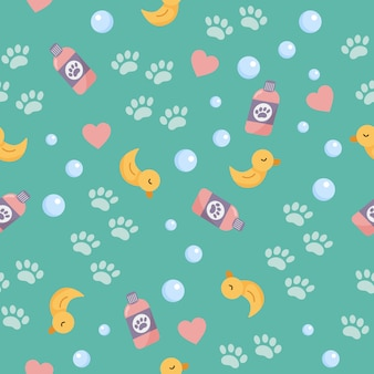 Seamless pattern of objects for washing. cute cartoon yellow duck for bath, bubbles and paws. pet wash and grooming.