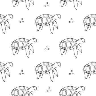 원활한 패턴-바다 거북입니다. 검정색과 흰색.