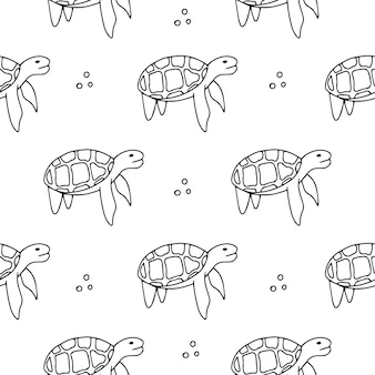 Seamless pattern - ocean turtle. black and white.