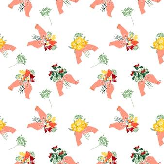 あなたの手で花の花束のシームレスなパターン。孤立した白地の夏の花。