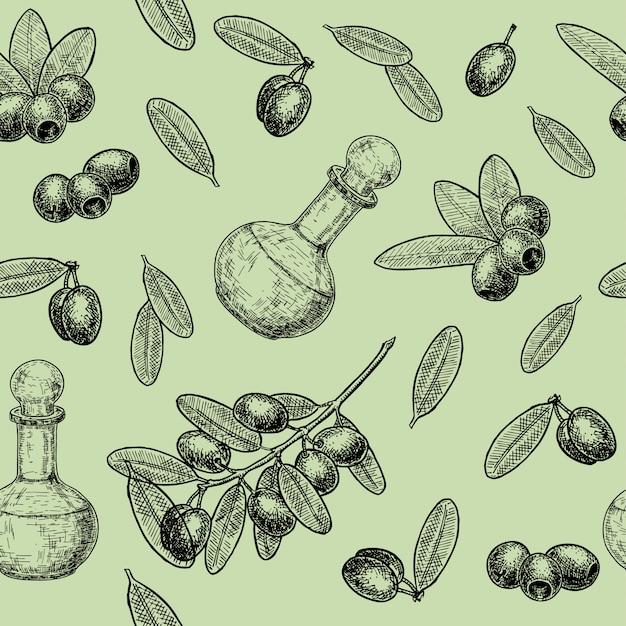 オリーブとオリーブオイルの枝のシームレスなパターン。手描きのオリーブと食品とオリーブオイルのラベルの木の枝のシームレスパターン。レトロなスタイルのイラスト。