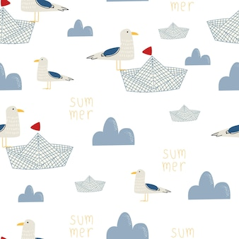 흰색 배경 벡터 일러스트 레이 션에 구름과 귀여운 새의 원활한 패턴