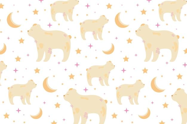 光沢のある星と三日月とホッキョクグマのシームレスなパターン