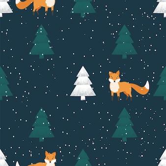 Бесшовный фон из зимнего леса с лисой. векторная иллюстрация