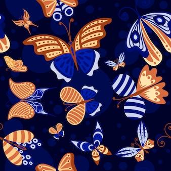 어두운 배경에 추상 화려한 장식 나비 민트, 파란색과 갈색 색상 평면 벡터 일러스트 레이 션의 완벽 한 패턴입니다.