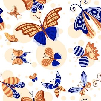 흰색 바탕에 추상 화려한 장식 나비 민트, 파란색과 갈색 색상 평면 벡터 일러스트 레이 션의 완벽 한 패턴입니다.
