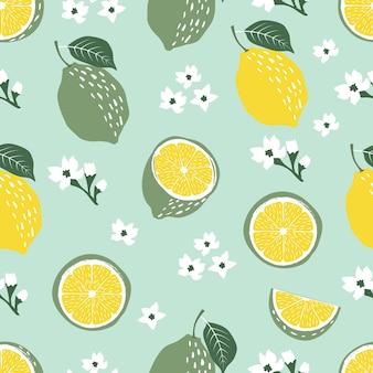 葉と花と抽象的な熱帯のライムやレモンの果実のシームレスなパターン