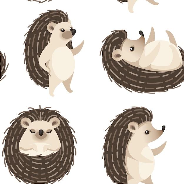 愛らしいハリネズミの森の動物イラストのシームレスなパターン