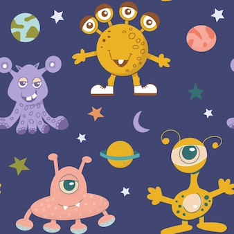エイリアンのかわいいモンスターとさまざまな惑星や銀河の星のシームレスなパターン