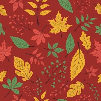 Бесшовный фон из осени, разноцветные листья на темно-красном фоне. печать для одежды, посуды, текстиля или упаковки. векторная иллюстрация eps10.