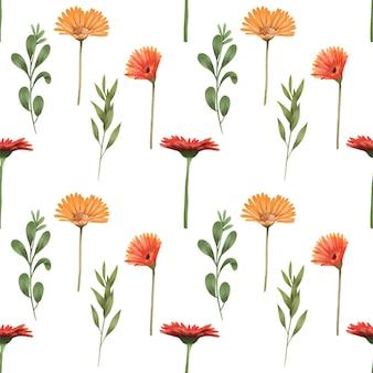 Бесшовный фон из осенних цветов герберы и зеленых ветвей