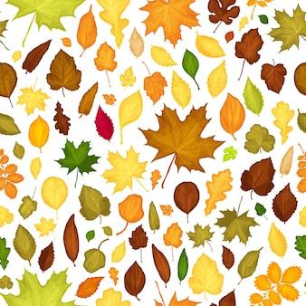 Бесшовный фон из осенних листьев дизайн фона