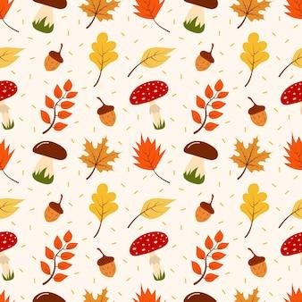 Бесшовный фон из осенних листьев, грибов и желудей. альбом для вырезок, бумага для упаковки подарков, текстиль.
