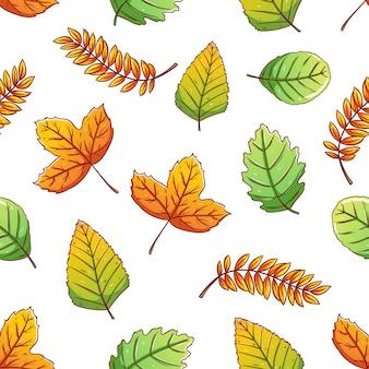 Бесшовный фон из осенних листьев с красочным стилем каракули