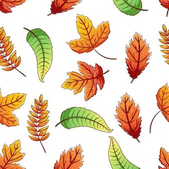 Бесшовные модели из осенних листьев с использованием стиля красочного эскиза