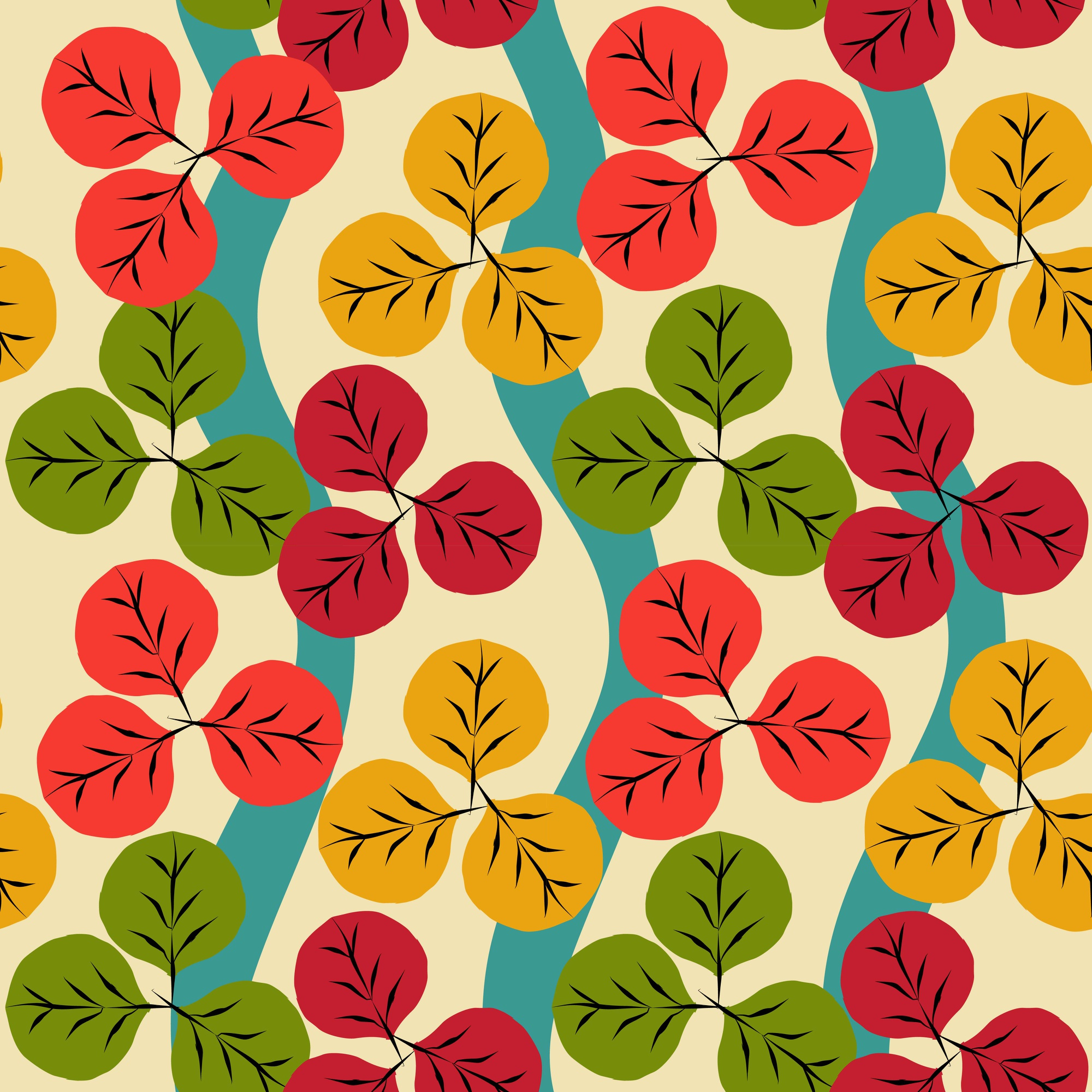 Seamless pattern of autumn with red, yellow, and green