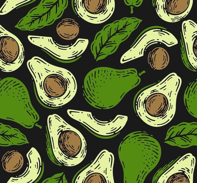 Бесшовный фон из фруктов авокадо в винтажном стиле каракули