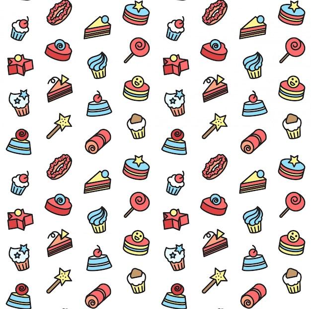 빵집 및 케이크 아이콘의 완벽 한 패턴입니다. 사탕, 달콤한 세트.