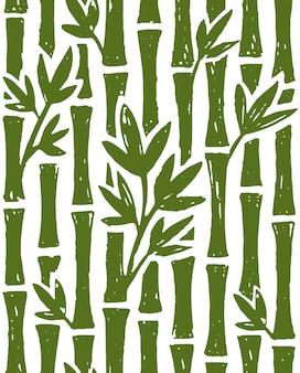 白い背景の上の竹の水墨画のシームレスなパターン