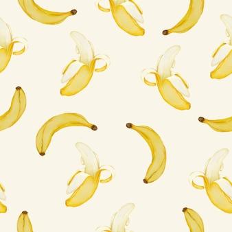 Бесшовный фон из бананов, целых и очищенных бананов