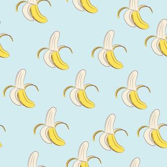 파란색 배경에 바나나의 완벽 한 패턴입니다.