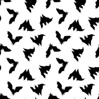 コウモリのシームレスパターン黒コウモリパターン