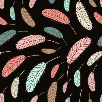 검은 배경에 새 깃털의 완벽 한 패턴