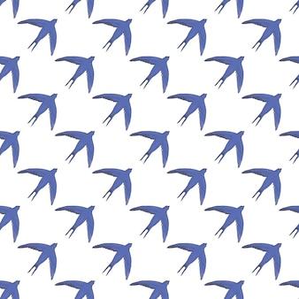 明るいシアンの背景に黒と白のツバメのシームレスなパターン。