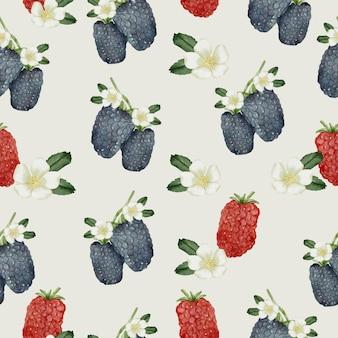 ブラックベリー、黒と赤の果物、花と葉のシームレスなパターン
