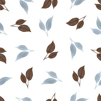직물에 대한 파란색과 갈색 잎의 원활한 패턴
