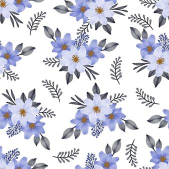 직물에 대한 파란색 꽃다발의 원활한 패턴