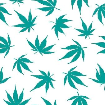 白い背景の上の青い大麻の葉のシームレスなパターン。ベクトルイラスト