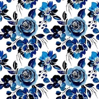 블루 꽃 수채화의 완벽 한 패턴