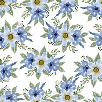 生地と背景のデザインのための青い花のシームレスなパターン