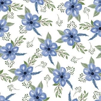 生地のデザインのための青い花のシームレスなパターン