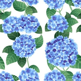 녹색 줄기와 잎 평면 벡터와 푸른 수국 꽃의 완벽 한 패턴 프리미엄 벡터