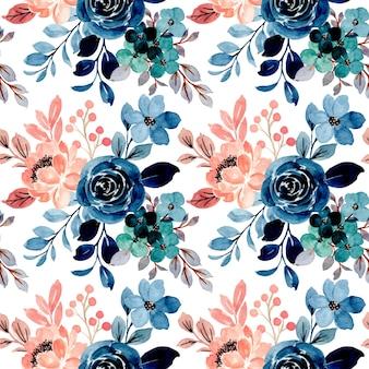 Бесшовный фон из синих розовых цветочных акварелей