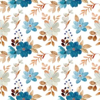 Бесшовный фон из синих белых цветочных акварелей
