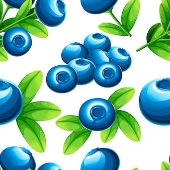 ブルーベリーのシームレスなパターン。緑の葉とブルーベリーのイラスト。装飾的なポスター、エンブレム天然物、ファーマーズマーケットのイラスト。ウェブサイトページとモバイルアプリ。