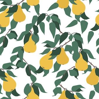 梨の果実と緑の葉と枝のシームレスなパターン