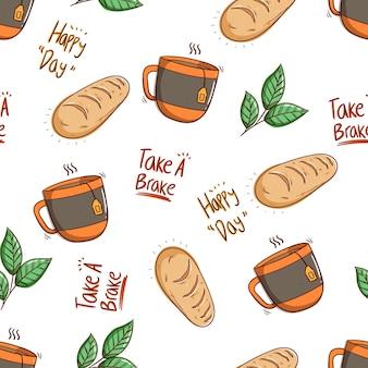 Бесшовные модели хлеба и стакана чая в стиле каракули