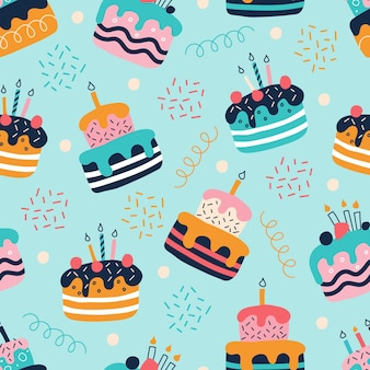 평면 낙서 스타일의 밝은 다채로운 케이크의 원활한 패턴