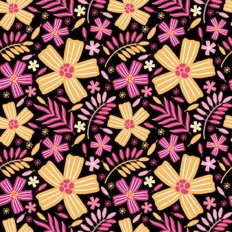 明るい黄色とピンクのエキゾチックな花と葉のシームレスなパターン。夏の背景の花の草原、庭、植物、植物。